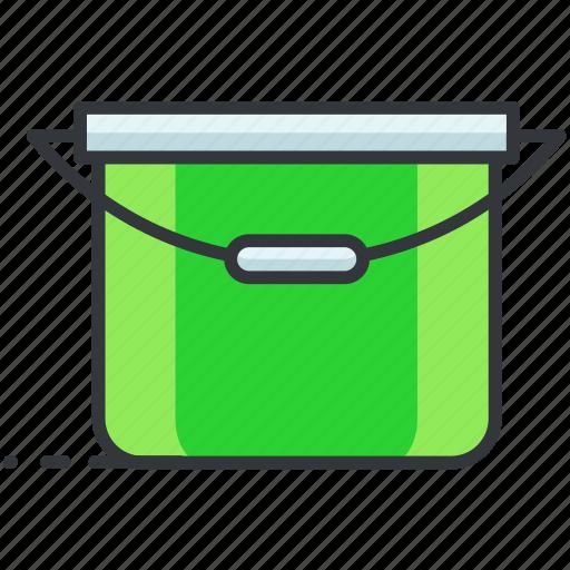 bucket, construction, equipment, maintenance, tool icon