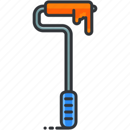 construction, long, maintenance, paint, paintbrush, roller, tool icon