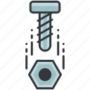 bolt, construction, equipment, maintenance, nail, tool icon