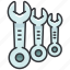 construction, equipment, headed, maintenance, one, tool, wrenches icon