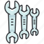headed, maintenance, tool, tools, two, wrenches icon