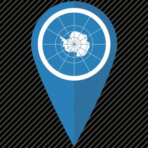 antarctic, antarctica, flag, map, pin, pointer, treaty icon