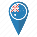 aussie, australia, flag, location, map, pin, pointer icon