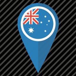 aussie, australia, flag, location, map, pin, pointer icon