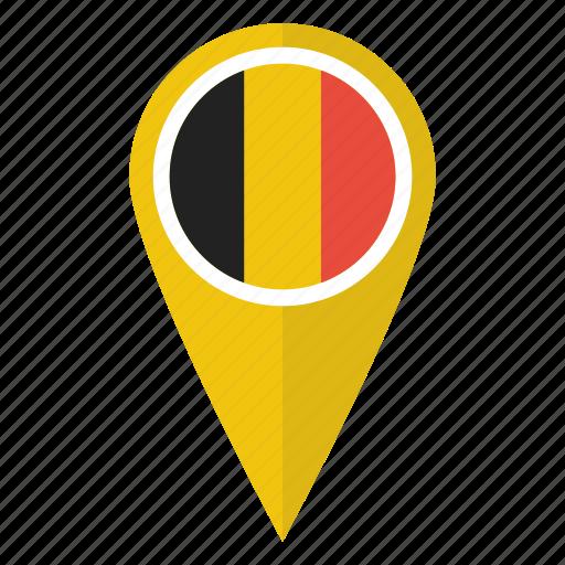 belgian, belgium, flag, location, map, pin, pointer icon
