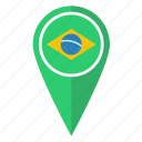brazil, country, flag, location, map, pin, pointer icon