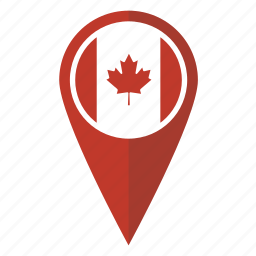 canada, canadian, flag, location, map, pin, pointer icon