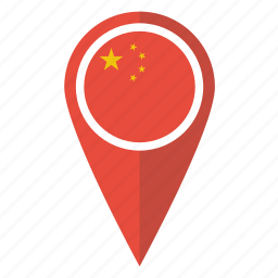 china, chinese, flag, location, map, pin, pointer icon
