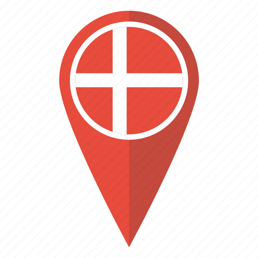 Danish denmark flag location map pin pointer icon Icon