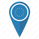eu, europe, european, flag, pin, pointer, union icon