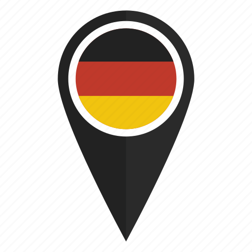 flag, german, germany, location, map, pin, pointer icon