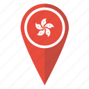 flag, hong, kong, location, map, pin, pointer icon