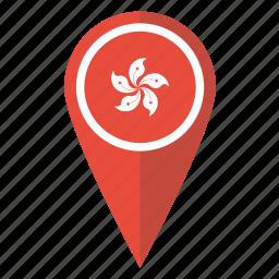 flag, hong, kong, location, map, pin, pointer icon