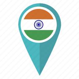 country, flag, india, indian, location, pin, pointer icon