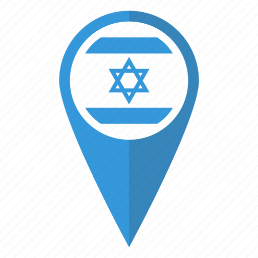 country, flag, israel, location, map, pin, pointer icon