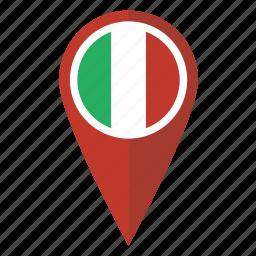 flag, italian, italy, location, map, pin, pointer icon