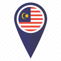 flag, location, malaysia, malaysian, map, pin, pointer icon