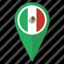 flag, map, mexico, pin icon