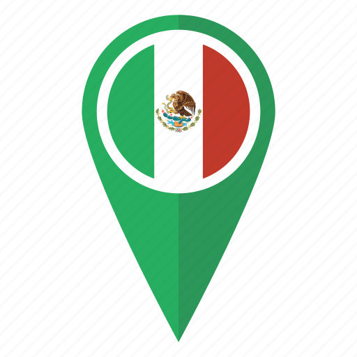 flag, location, map, mexican, mexico, pin, pointer icon