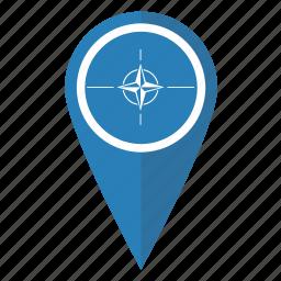 flag, location, map, nato, organization, pin, pointer icon