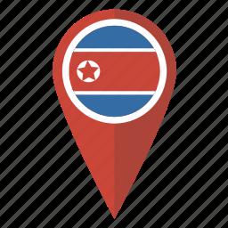 flag, korea, korean, map, north, pin, pointer icon