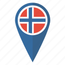 flag, location, map, norway, norwegian, pin, pointer icon