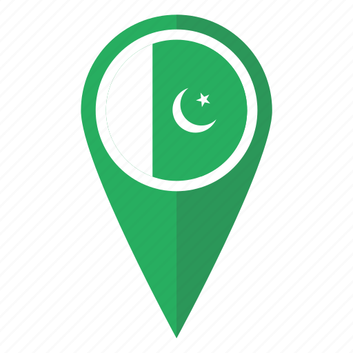 country, flag, location, map, pakistan, pin, pointer icon