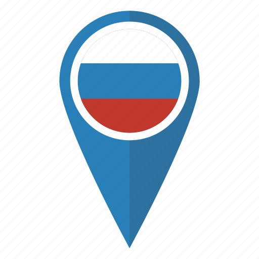 flag, location, map, pin, pointer, russia, russian icon