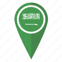 arabia, flag, location, map, pin, pointer, saudi icon