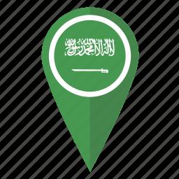 arabia, flag, location, map, pin, pointer, saudi icon