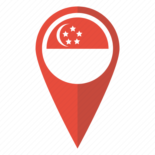 country, flag, location, map, pin, pointer, singapore icon