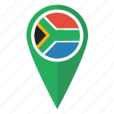 africa, african, flag, map, pin, pointer, south icon