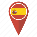flag, map, pin, spain icon