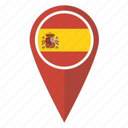 flag, location, map, pin, pointer, spain, spanish icon