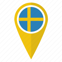 flag, location, map, pin, pointer, sweden, swedish icon