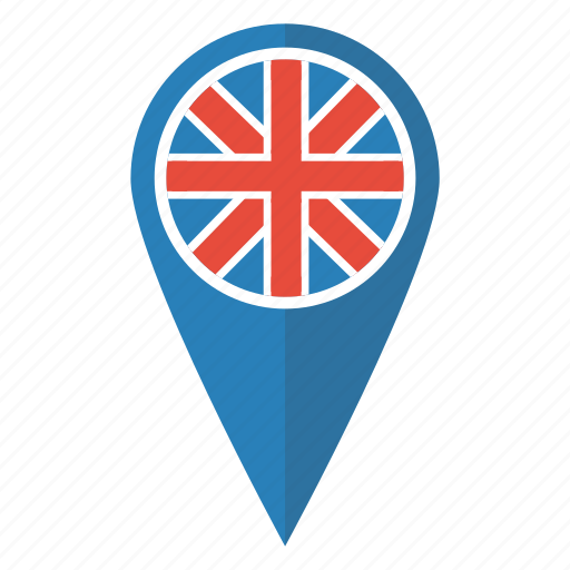 britain british flag map pin pointer uk icon