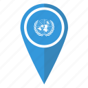 flag, map, nations, pin, pointer, un, united icon