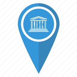 flag, location, map, organisation, pin, pointer, unesco icon