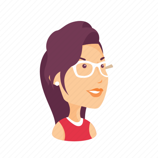 avatars, character, female, glasses, people, portrait, profile icon