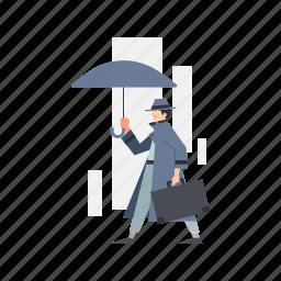 man, suitcase, umbrella, suit