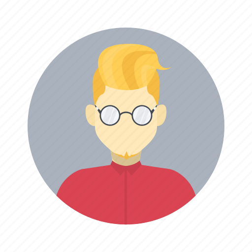 avatar, blond, boy, character, clever, glasses, male, man, person, portrait, professional, smart, team member, testimonial, user icon
