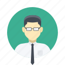 avatar, boy, business, character, class, clever, glasses, handsome, male, man, person, portrait, professional, serious, shirt, smart, team, team member, testimonial, tie, user, work icon