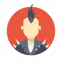 avatar, boy, character, earings, gang, handsome, jacket, male, man, metal, mohawk, person, portrait, punk, rock, spikes, team, team member, user icon