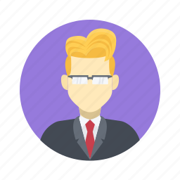 avatar, blond, boy, business, character, clever, glasses, handsome, male, man, person, portrait, professional, serious, smart, suit, team, team member, user, work icon