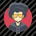 afro, avatar, band, beard, boy, celebrity, character, famous, glasses, handsome, hip hop, hoodie, male, man, person, portrait, rap, singer, star, team member, testimonial, user, vip icon
