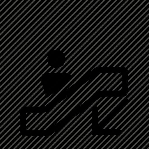 down, escalator, wayfinding icon