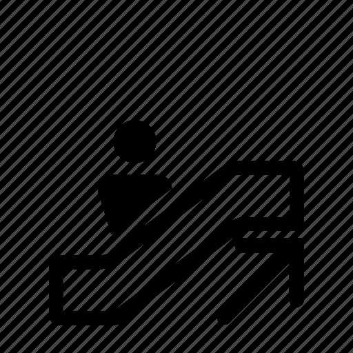 escalator, up, wayfinding icon