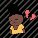 broken, girl, heart, miserable, sad, sticker, vee