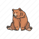 animals, bear, brown bear, kodiak bear, kodiak brown bear, mammal, sitting bear icon