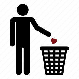 heart, love, man, men, no love, out of love, trash icon